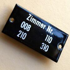 ZIMMER Nr. 008.. Altes Emailschild um 1950 MAKELLOS Technik Hotel Jugendherberge