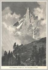 Aus der Montblancgruppe: Die Aiguille du Dru. Original Holzstich von 1903