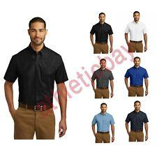 Port Authority Short Sleeve Carefree Poplin Shirt Lightweight Breathable W101