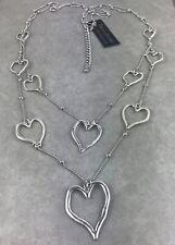 UK Ladies Designer Long Silver Link Heart Statement Necklace Gift Jewellery