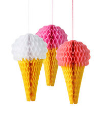 3 x Pretty Ice cream paper hanging honeycomb decorations Wedding Party FREE P&P