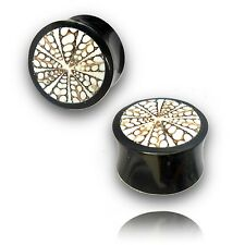 PAIR 5/8 INCH (16MM) HORN PLUGS WITH EYE SHELL INLAY