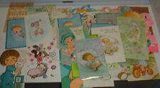 Vtg lot 1972/1973 1st First Birthday/Baby Announcement Greeting Cards (35)