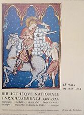 Affiche quadri France Medievale Bibliothèque Nationale 1974 Enrichissements