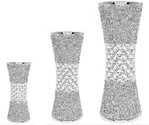MILLIE Crushed Diamond Crystal Silver Ceramic Vase Leonardo Choice of Size