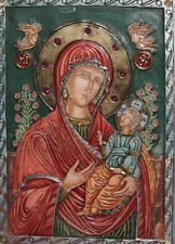 Hand Made Relief Orthodox Icon Of Virgin Mary & Christ Child