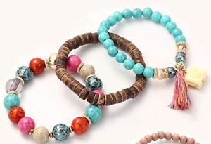 3 Piece Bohemian Bracelet for Women Multilayer Tassel Bracelet Set Elastic Band