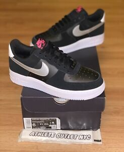 New Nike Air Force 1 Low Black Pink Blast Silver Women's Size 6 Shoes DA4282-001