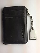 Jones New York genuine black leather wallet ID card holder with chain