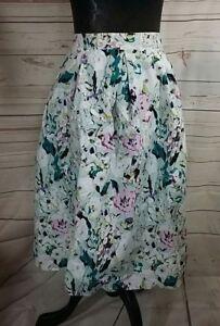 Womens Skirt UK 18 Pretty Floral Cotton Summer Wedding