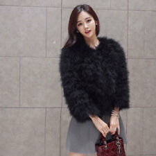 Ladies Faux Ostrich Fur Coat Tops Feather Trench Jacket Women Outwear