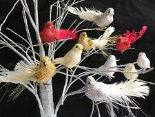 Glitter Clip On Bird Tree Decorations Christmas Gold Silver Red Feather Vintage