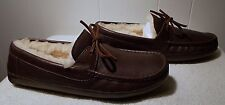 NEW UGG Leather Slippers BYRON Chocolate Brown Men's Size 9
