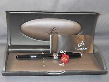 Parker Sonnet Fountain Pen--black laque with chrome trim--l8k fine point nib--