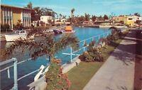 Long Beach California~Alamistos Bay Island~Canals in the Naples~1950s Postcard