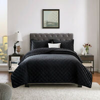 Black Quilted Crushed Velvet Bedspread Bed Throws Double King Size Bedding Sets