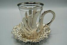 Set of 6 Turkish Tea Glass Glasses Saucers Set Silver Color