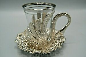 18 Pcs Turkish Handcrafted Traditional Tea set of 6 with Saucers Set (Silver)