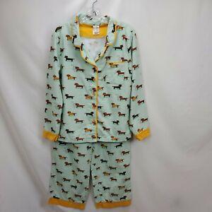 Munki Munki Womens Flannel Pajamas Set Dachshund Weiner Puppy Dog Large Top Pant