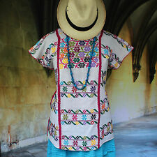 White & Multi-Color Huipil Amuzgo Hand Woven Oaxaca Mexico Boho Hippie Cowgirl