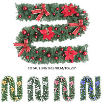Christmas Artificial Garland Wreath Door Wall Hanging Ornament Xmas Decor 2.7m