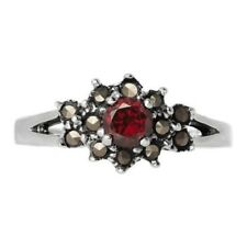 925 STERLING SILVER  MARCASITE AND GARNET CZ CLUSTER RING SIZE 10