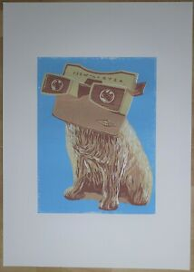 """""""His Viewmasters Voice"""" lino print. New. Hand made by artist."""