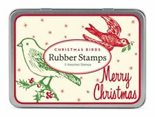 Cavallini - Tin of Rubber Stamps - Christmas Birds CHRBRD - Set of 3 Stamps