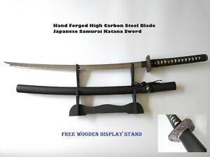 Hand Forged High Carbon Steel Blade Japanese Samurai Katana Sword W/FREE Stand