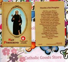 San Peregrino - Oracion a San Peregrino - Spanish - Relic Paperstock Holy Card