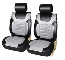 6802-4 Bk/Gray 2 PU Leather Car Seat Covers Cushion for Truck SUV Van Limousine