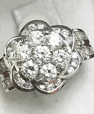18k solid white gold cubic zirconia cz ring  h3jewels 12.10 grams flower