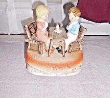 Sankyo Japan Vintage Music Box Boy and Girl at Table with candle praying