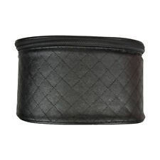 Large Quilted Travel Cosmetic Case Makeup Round Case Bag Organizer Handle Black