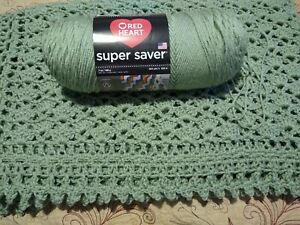 Handmade NEW Victorian Shells Crochet Afghan Soft Sage Green Throw 54X66 ins