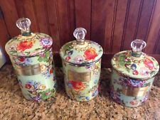 Set 5 Mackenzie-Childs Flower Market Canisters + Utensil Holder + Soap dispenser