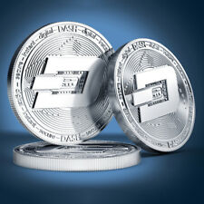 DASH Dash Cryptocurrency Virtual Currency Silver Plated Coin | BITCOIN