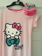 GIRLS 'HELLO KITTY' PINK NIGHTIE AND SOCKS SET. AGE 7-8. NEW WITH TAG. M AND S.
