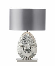 Endon Simeto table lamp 60W Polished nickel plate & warm grey faux satin