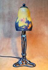 MULLER : Lampe art déco fer forgé tulipe signée pâte de verre 1930 GINGKO ancien