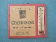vintage - thermomètre sur carton publicitaire VIN CHAND'OR