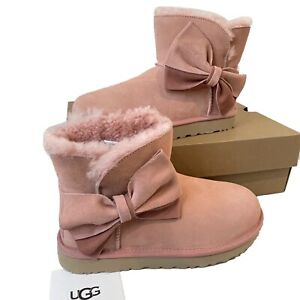Women's UGG Boots Size UK 6 Classic Mini Pink Bow Suede Boxed EU 39