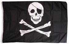 PIRATES FLAG JOLLY ROGER SKULL AND CROSS BONES 5FX 3FT 150CMX90CM HALLOOWEEN