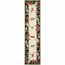 Safavieh Rooster Ivory / Black Wool Runner 2' 6 x 12'
