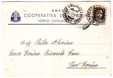 TORINO FORNO CANAVESE 05 E.N.F.C. COOPERATIVA CONSUMO Cartolina COMM VIAGG. 1939