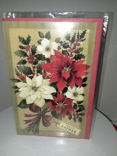 Father Christmas Card with envelope - New -unused wrapped P. S. Greetings floral