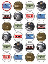 """x24 1.5"""" Vintage Eighties 80s Music Cassette Player Cupcake Topper On Rice Paper"""