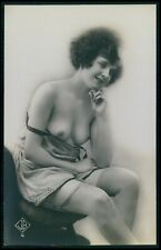 early biederer breasts exposed French nude woman original 1920s photo postcard a