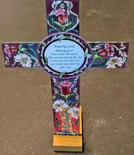 "SUNCATCHER - Hand Painted AMIA Glass CROSS Purple - 8.5"" by 12"" - Amazing Grace"