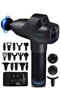 FITPULSE Massage Gun Deep Tissue Massager Black with Chrome Blue 17 heads